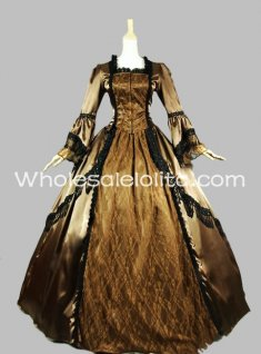 18th Century Brown & Gold Satin Lace Marie Antoinette Period Dress Wedding Dress Ball Gown