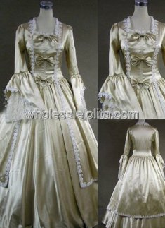18th Century Theme Dress Champagne Marie Antoinette Period Dress Prom Wedding Performance Clothing
