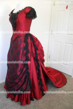 Victorian Bustled Ball Gown in Red Satin and Black Lace