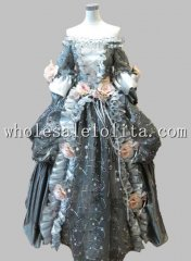 17 18th Century Gray Floral Marie Antoinette Off the Shoulder Baroque Rococo Halloween Costume