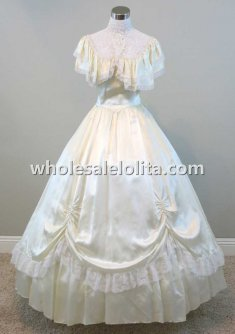 Victorian Lace High Collar Ivory Satin Civil War Period Dress Ball Gown Renaissance Faire Attire