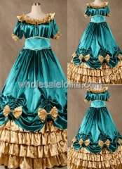 Teal and Gold Corset Civil War Southern Belle Dance Ball Gown Wedding Prom Dress