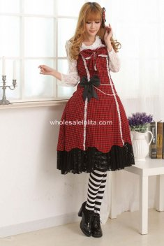 Sweet Pretty Gothic Lolita Red&Black Dress 005 Rare Classy Lovely Made Cosplay