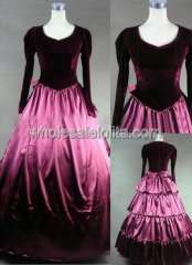 Burgundy Velvet & Satin Victorian Civil War Ball Gown Reenactment Wear