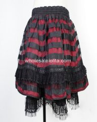 Gothic Red Striped Lace Lolita Skirt