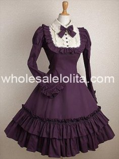 Classic Cheap Purple Long Sleeves Ruffle Cotton Class