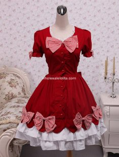 Cotton Red Bow Classic Lolita Dress