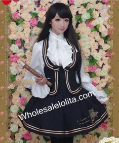 Fake Two-pieces Embroidery Halter Sailor Lolita School Uniform