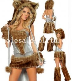 Sexy Silver Grey Female Wolf Cosplay Animal Fur Halloween Costume