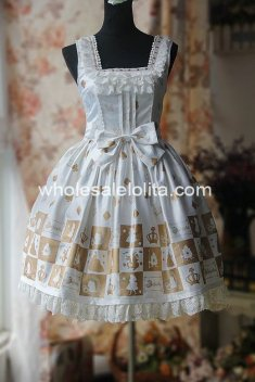 Sweet Alice Poker Printing Jumper Skirt Cotton Lolita Dress