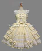 Light Yellow Cotton Sleeveless JSK Sweet Lolita Dress