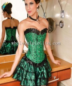 New Green and Black Print Ruffle Trim Corset Lingerie