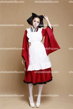 Japan Maid Red Kimono Cosplay Costume