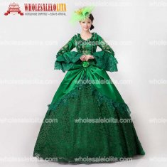 New Renaissance Fair Royal Green Elizabeth Ball Gown Marie Antoinette Medeival Period Dress with Train Reenactment Costume