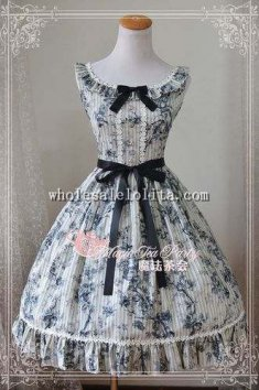 Chinese Painting Style Rose Printing Tea Party JSK Lolita