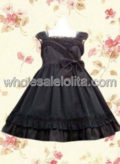 Black Sleeveless Classic Lolita Dress with Lace Bow