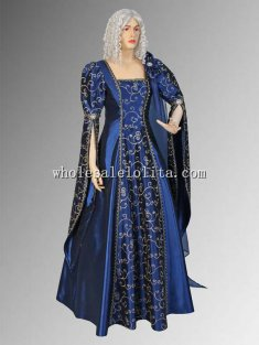 Custom Made 17th Century Baroque Blue Renaissance Dress Gown Handmade from Embroidered Satin