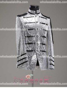 High-end Customized Mens Silver Palace Suit General Blazer Suits Medieval Mens Period Costume
