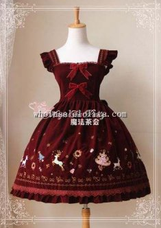 Christmas Morning Embroidery Velveteen JSK Sweet Lolita