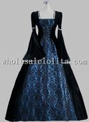 19th Century Gothic Black and Blue Print Elegant Victorian Ball Gown