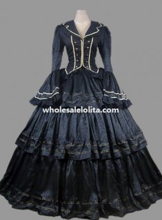 Historical Black Brocade & Cotton Civil War Victorian Ball Gown Period Dress
