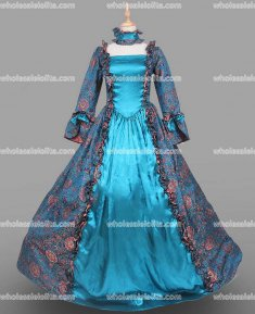 18th Century Period Dress Gothic Blue Marie Antoinette Gown Reenactment Theater Clothing