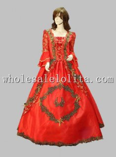 Halloween Cosplay Red Noble Court Princess Sissi Dress Wedding Dress
