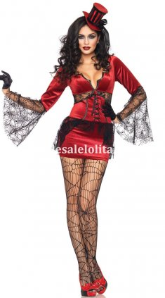 Adult Red Female Spider Demon Halloween Vampire Costume
