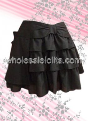 Beautiful and Sweet Black Cotton Lolita Skirt Multilayered