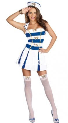 One Piece White and Blue Female Navy/Sailor Cosplay Costume Dress