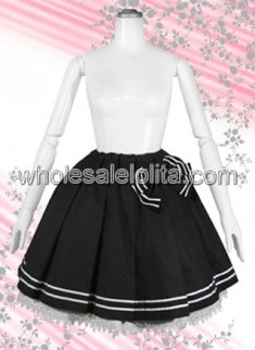 Black Lace Hem Cotton Lolita Skirt