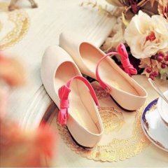 Princess Beige Bow PU Flat Lolita Shoes