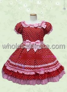 Red Cotton Multilayer White Dots Lolita Dress