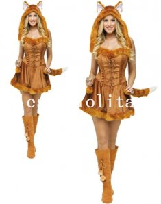 Adult Lady Fox Cosplay Faux Fur Animal Halloween Costume