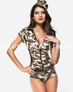 Charming One-Piece Camo Costume for Women