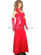 One Shoulder Red Long Latex Maxi Dress with Gloves & Neckwear