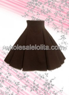 Brown Pleated Cotton Lolita Skirt