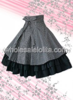 Checked Multilayers Bow Cotton Lolita Skirt