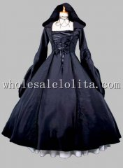 Gothic Black Halloween Witch Cosplay Costume Dress Two Piece