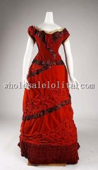 1875 British Culture Red Silk & Cotton Victorian Bustle Ball Gown