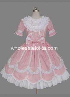 Top Sale Pink Short Sleeves Bow Cotton Sweet Lolita Dress