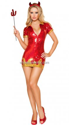 New Red Sequin Devil Women Halloween Costume