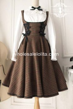 Vintage Coffee Grid Wool Knee Length Classic Lolita Dress