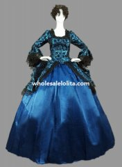 Historical Marie Antoinette Blue Floral Victorian Period Ball Gown Theatre Clothing
