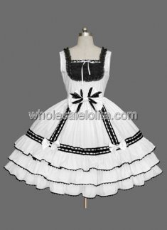 White And Black Sleeveless Cotton Sweet Lolita Dress