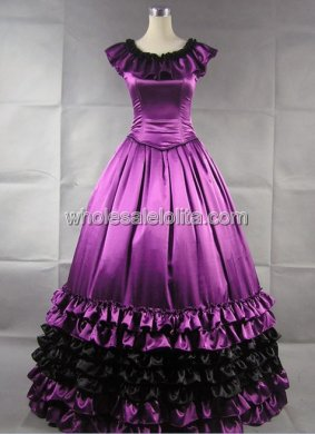 2-Piece Purple Civil War Period Southern Belle Wedding Ball Gown Prom Dress