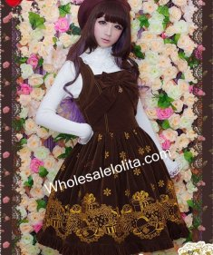 Gorgeous Coffee Embroidery Sleeveless JSK Corduroy Lolita Dress