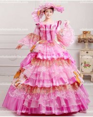 Vintage Pink Marie Antoinette Inspired Prom Dress Wedding Quinceanera Ball Gown PINK