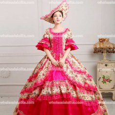 18th Century Rococo Style Marie Antoinette Inspired Prom Dress Wedding Ball Gown PLUM