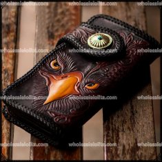 Gothic Steampunk rock punk Retro Vintage Manual Male Leather Wallet Card Holder